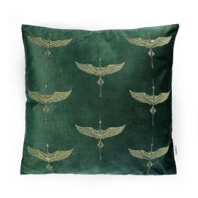 CRANE Poszewka dekoracyjna z haftem zielona 45x45 cm