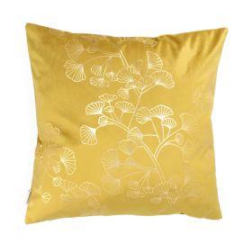 VESKA Poszewka dekoracyjna ze złotym wzorem musztardowa 45x45 cm