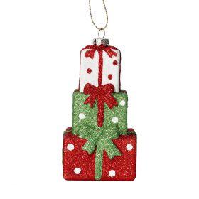 EVI Zawieszka prezenty czerwono-zielony 10 cm