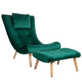 MICKE Fotel z podnóżkiem zielony 118x76x43 cm