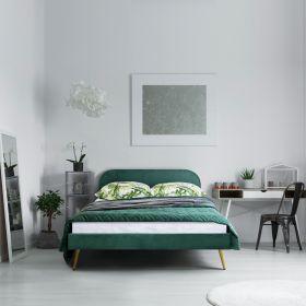 VENLO Łóżko welurowe zielone 160x200 cm