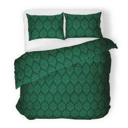 FLORAL Komplet pościeli bawełnianej zielonej 160x200 cm