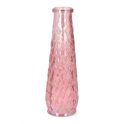 ARCHIE Wazon z tłoczeniem różowy 7x25 cm