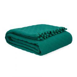 BRENDA Narzuta z pomponami zielona 200x220 cm