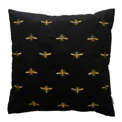 BEE Poszewka dekoracyjna z haftem czarna 45x45 cm