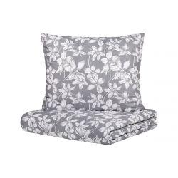 RIVERSIA Komplet pościeli bawełnianej w kwiaty szarej 160x200 cm