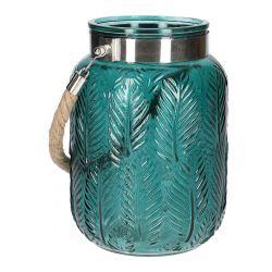 FLOR Lampion ze sznurkiem zielony 14x21 cm