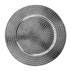 PLAST Taca wytłaczana srebrna 35 cm