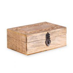 SOMBRE Szkatułka drewniana żłobiona 22x14x8 cm