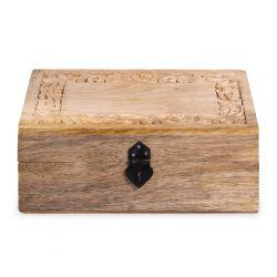 SOMBRE Szkatułka drewniana żłobiona 26x18x10 cm