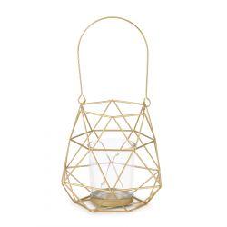 NAAS Lampion geometryczny złoty 13x11x12 cm