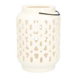 MILE Lampion ceramiczny biały 15x 22 cm