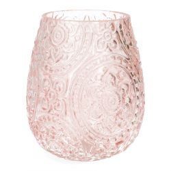 ROSAS Lampion szklany rózowy 12x15 cm