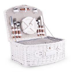 PICNIC Kosz piknikowy dla 4 osób biały 46x38x20 cm