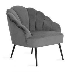 ARIEL Fotel welurowy szary 63x50x71 cm