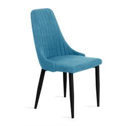 LOUIS Krzesło w tkaninie turkusowe 44x59x88 cm