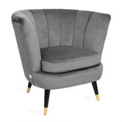 MELBY Fotel welurowy szary 84x70x75 cm
