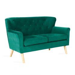 ELLEN Sofa welurowa zielona 140x78x89 cm