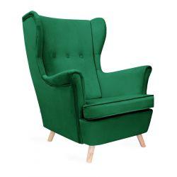 FOSSBY Fotel welurowy zielony 81x85x101 cm