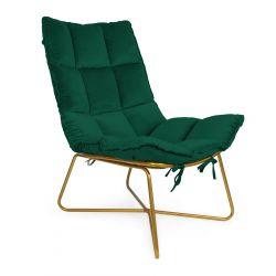 GLOVAL Fotel welurowy zielony 68x42x90 cm