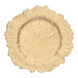 TURSI Taca ozdobna złota 33 cm