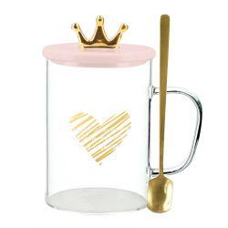 ORYAN Szklanka z przykrywką i łyżeczką różowa 0,45 l
