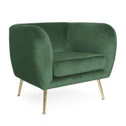 BARI Fotel welurowy zielony 69x79x75 cm