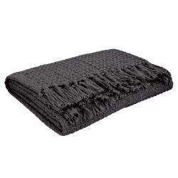 VAFFEL Pled bawełniany szary 130x170 cm
