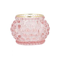 GEMINI Lampion szklany różowy 7x7x5 cm