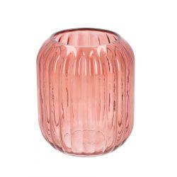 MONE Wazon szklany różowy 17x17x20 cm