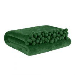 HJO Koc z pomponami zielony 150x200 cm