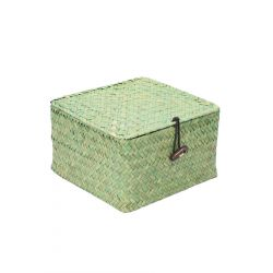 TALULAH Szkatułka pleciona zielona 18x19x9 cm