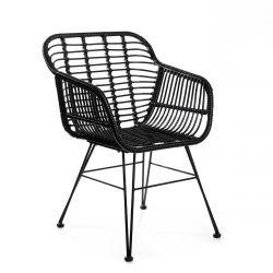 JARDIN Krzesło plecione czarne 57x62x81 cm
