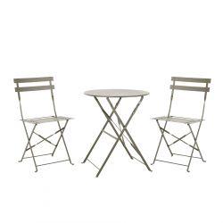 JARDIN Zestaw stolik i krzesło szary 3 szt.