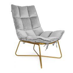 GLOVAL Fotel welurowy szary 63x90x89 cm