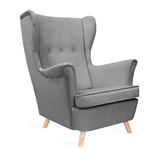 FOSSBY Fotel welurowy szary 83x55x102 cm
